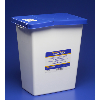 PharmaSafety Pharmaceutical Waste Container Nestable 18.75 H x 12.75 D x 18.25 W in 12 Gallon White Base / Blue Lid Vertical Entry Hinged Lid