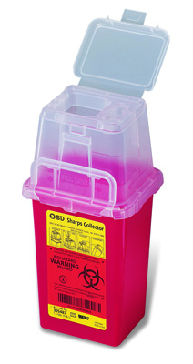 BD Phlebotomy Sharps Container 1-Piece 9H X 4.5W X 4D Inch 1.5 Quart Red Base Vertical Entry Lid - 305487 - Case of 36
