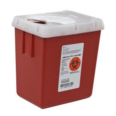 Phlebotomy Sharps Container AutoDrop 1-Piece 7.25H X 6.5W X 4.47D Inch 2.2 Quart Red Base Vertical Entry Lid