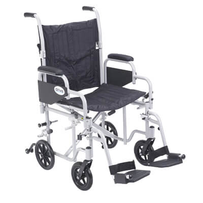 Drive Medical Poly Fly Light Weight Transport Chair Wheelchair with Swing away Footrest Model tr20