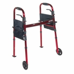 Drive Medical Portable Folding Travel Walker with 5 inch Wheels and Fold up Legs Model rtl10263kdr