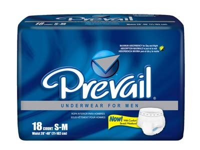 Prevail Protective Underwear for Men, Small/Medium - 72 cs (4x18ea)