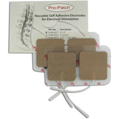 Pro-Patch TENS Unit 2 x 2 Square Electrode Pads, Tan Cloth - 10 packs of 4 Pads  - 40 Electrodes