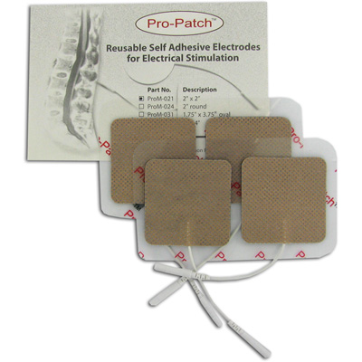 Pro-Patch TENS Unit 2 x 2 Square Electrode Pads, Tan Cloth - 4 Pads