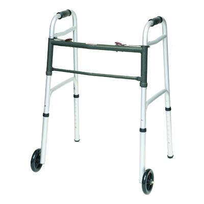ProBasics Aluminum Junior Walker 2 Button w/ wheels 300 lb Weight Capacity WKAJW2B