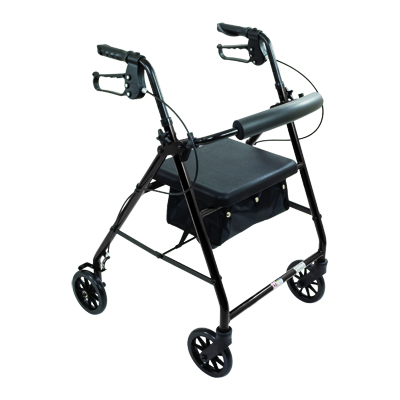 ProBasics Aluminum Rollator, 6 in Wheels, Black, 300 lb Weight Capacity RLA6BK