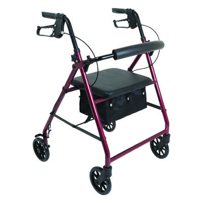 ProBasics Aluminum Rollator, 6 in Wheels, Burgundy, 300 lb Weight Capacity RLA6BG