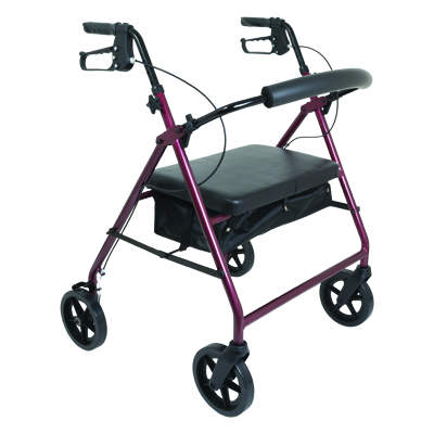 ProBasics Bariatric Aluminum Rollator, 8 in Wheels, Burgundy, 400 lb Weight Capacity RLAB8BG