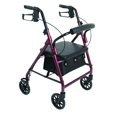 ProBasics Junior Aluminum Rollator, 6 in Wheels, Burgundy, 250 lb Weight Capacity RLAJ6BG
