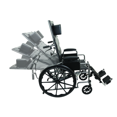 ProBasics Reclining Wheelchair, 22 in x 16 in, Removable desk arms and ELRs WCR2218E