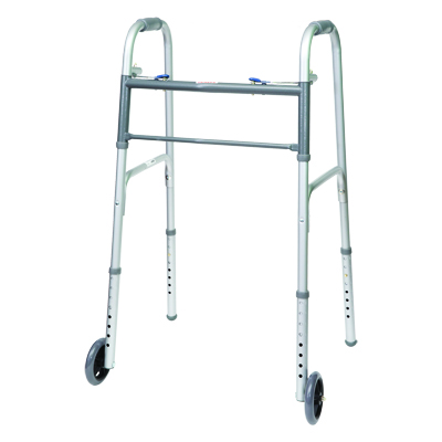 ProBasics Steel Adult Walker 2 Button w/ wheels 350 lb Weight Capacity WKSAW2B