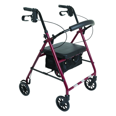 ProBasics Steel Rollator, 6 in Wheels, Burgundy, 300 lb Weight Capacity RLS6BG
