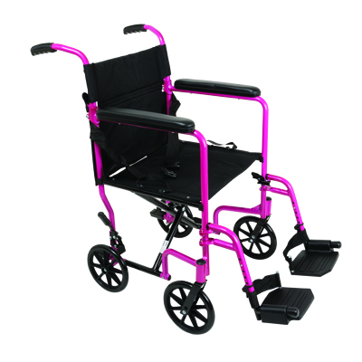 ProBasics Transport Chair Aluminum 19 in Pink w/ swing away footrests  TCA1916PK