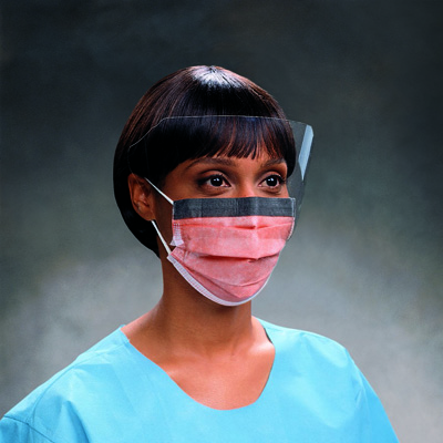 Procedure Mask with Eye Shield FluidShield Pleated Earloops One Size Fits Most Orange