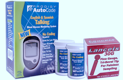 Prodigy AutoCode Talking Blood Glucose Meter Starter Pack - 100 Test Strips, 100 Lancets and Prodigy Monitor