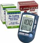Prodigy Voice Talking Blood Glucose Meter Starter Pack - 100 Test Strips, 100 Lancets and Voice Meter