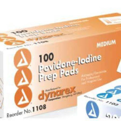 Dynarex PVP Prep Pad Povidone Iodine, 10% Individual Packet Medium - Case of 1000