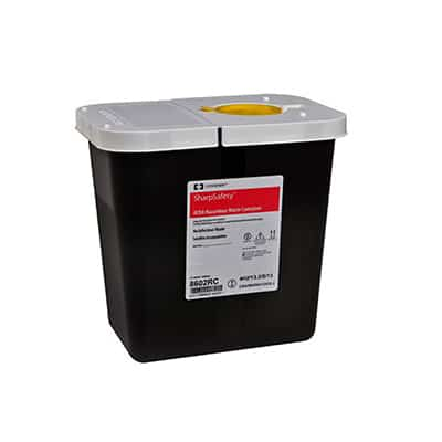 RCRA Waste Container SharpSafety 10 H X 7.25 D X 10.5 W Inch 2 Gallon Black Base White Lid Vertical Entry Hinged Lid
