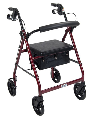 Drive Medical Red Rollator Walker with Fold Up Removable Back Support Padded Seat r728rd