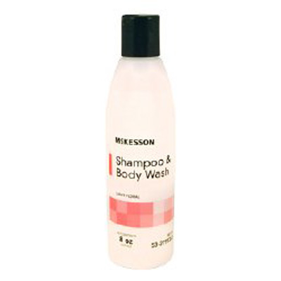Rinse-Free Shampoo and Body Wash McKesson 8 oz. Squeeze Bottle Light Floral Scent