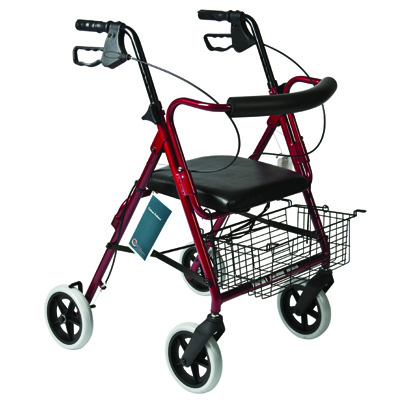 Roscoe Medical Deluxe Rollator with Padded Seat Color: Burgundy
