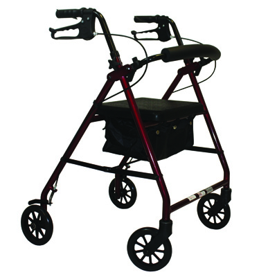 Roscoe Medical E-Series Rollator with Padded Seat Color: Burgundy