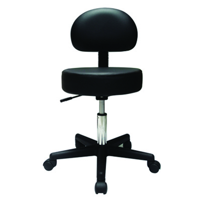 Roscoe Medical Pneumatic Air Stool WITH Seat Back, Comfy Cushion, Black