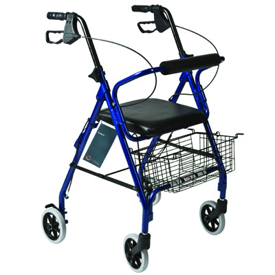 Roscoe Medical Rollator with Padded Seat Color: Blue
