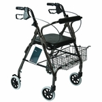 Roscoe Medical Rollator with Padded Seat Color: Granite Gray