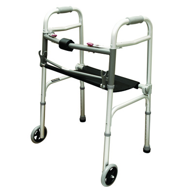 Roscoe Medical Two Button Walker with Roll-Up Seat Color: Gray