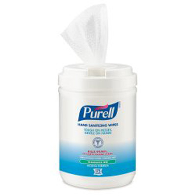 Sanitizing Skin Wipe Purell Canister Alcohol Unscented 175 Count