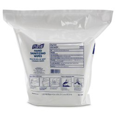 Sanitizing Skin Wipe Purell Refill Pouch BZK (Benzalkonium Chloride) Alcohol Scent 1200 Count