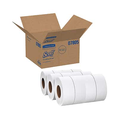Scott JRT Jr. Toilet Tissue White 2-Ply Jumbo Size Cored Roll Continuous Sheet 3.55 Inch X 1000 Foot