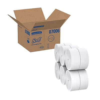 Scott JRT Jr. Toilet Tissue White 2-Ply Jumbo Size Coreless Roll Continuous Sheet 3.78 Inch X 1150 Foot