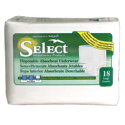 Select Disposable Absorbent Underwear - Large - 2606 72 /cs (4 bags of 18)