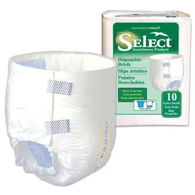 Select Disposable Briefs - X-Small - 3666 100 /cs (10 bags of 10)