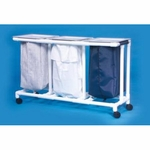 Select Triple Hamper with Bags 4 Casters 39 gal.