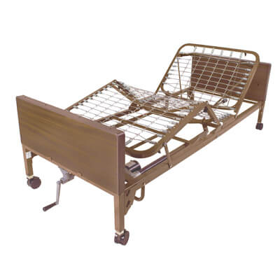 Drive Medical Semi Electric Bed with Half Rails and Therapeutic Support Mattress 15004bv-pkg-1-t