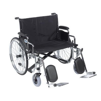 Drive Medical Sentra EC Heavy Duty Extra Wide Wheelchair, Detachable Desk Arms, Elevating Leg Rests, 26 in Seat