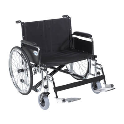 Drive Medical Sentra EC Heavy Duty Extra Wide Wheelchair, Detachable Full Arms, Swing away Footrests, 26 in Seat