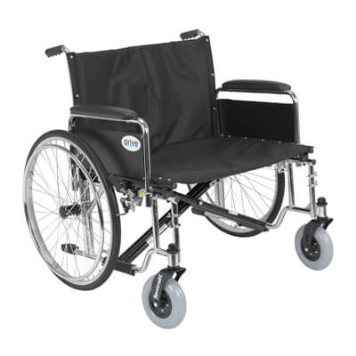 Drive Medical Sentra EC Heavy Duty Extra Wide Wheelchair with Detachable Full Arms Model std28ecdfa