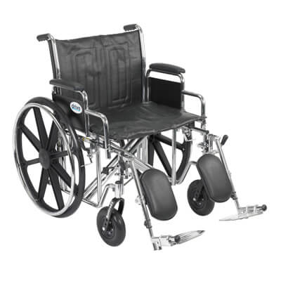 Drive Medical Sentra EC Heavy Duty Wheelchair with Detachable Desk Arms and Elevating Leg Rest std22ecdda-elr