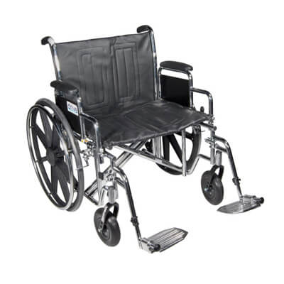 Drive Medical Sentra EC Heavy Duty Wheelchair with Detachable Desk Arms and Swing Away Footrest Model std24ecdda-sf