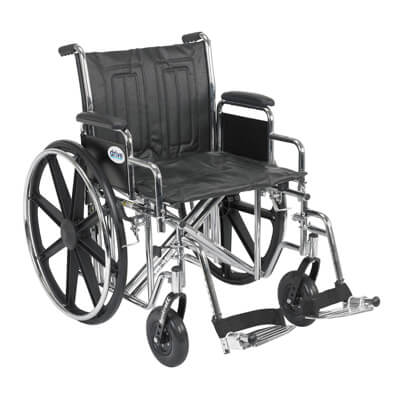 Drive Medical Sentra EC Heavy Duty Wheelchair with Detachable Desk Arms and Swing Away Footrest std20ecddahd-sf