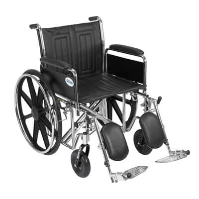 Drive Medical Sentra EC Heavy Duty Wheelchair with Detachable Full Arms and Elevating Leg Rest Model std20ecdfahd-elr