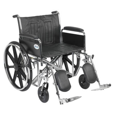 Drive Medical Sentra EC Heavy Duty Wheelchair with Detachable Full Arms and Elevating Leg Rest std24ecdfa-elr