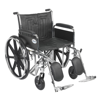 Drive Medical Sentra EC Heavy Duty Wheelchair with Detachable Full Arms and Elevating Leg Rest std22ecdfa-elr