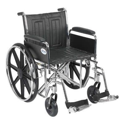Drive Medical Sentra EC Heavy Duty Wheelchair with Detachable Full Arms and Swing Away Footrest std20ecdfahd-sf