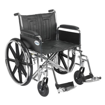 Drive Medical Sentra EC Heavy Duty Wheelchair with Detachable Full Arms and Swing Away Footrest Model std22ecdfa-sf
