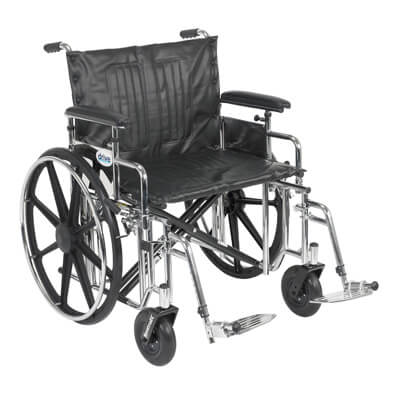 Drive Medical Sentra Extra Heavy Duty Wheelchair with Detachable Adjustable Full Arms and Swing Away Footrest std20adfa-sf